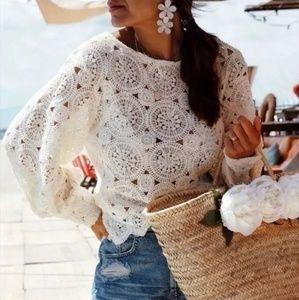 Zara Balloon Puff Sleeve Lace Crochet Top 2142/029